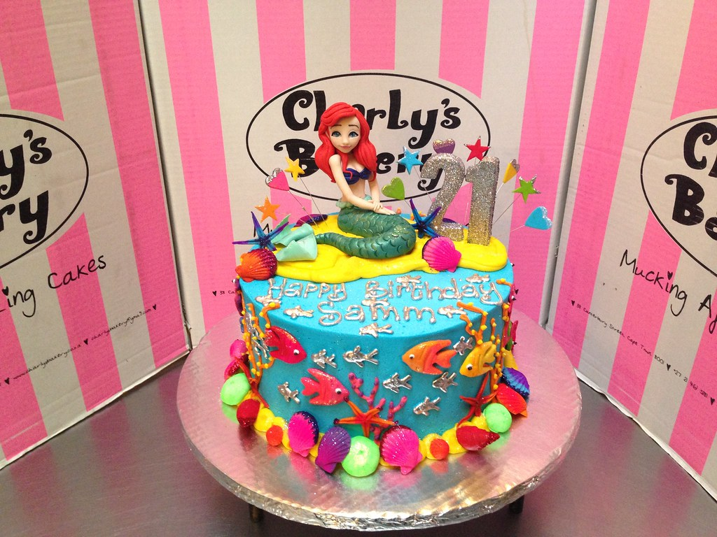Ariel Little Mermaid Themed 21st Birthday Cake With Sea And Ocean Decor 3D Figurine