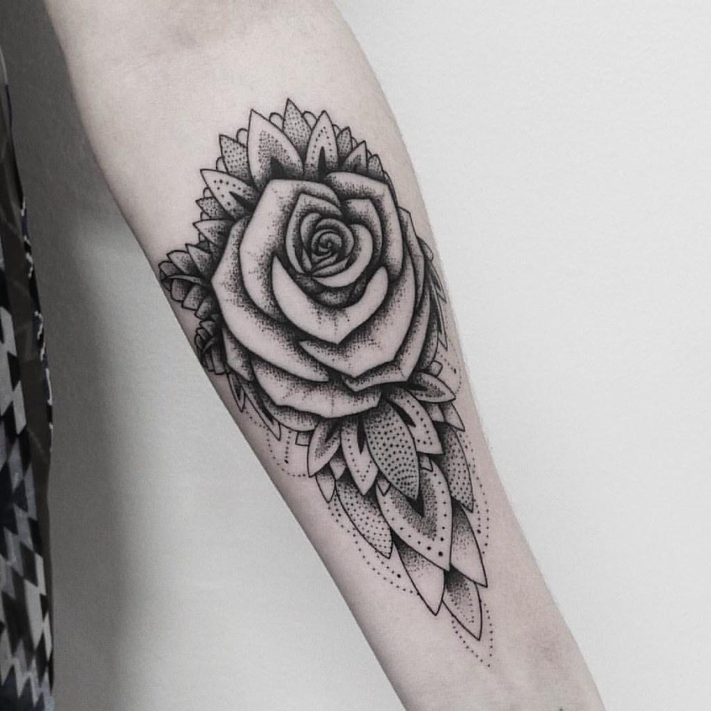 tattoo rose mandala dotwork blackwork by maksimlopez