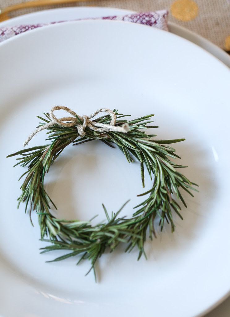 ... thanksgiving table miniature rosemary wreath decoration on a plate | by Berries.com & thanksgiving table miniature rosemary wreath decoration on\u2026 | Flickr