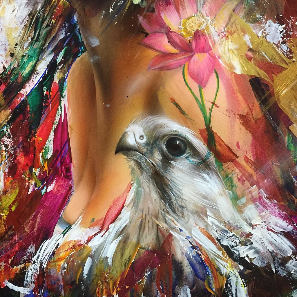 white bird paint painting lotus color colorful bur flickr