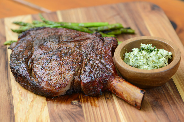 Smoked Ribeye with Cilantro-Lime Butter