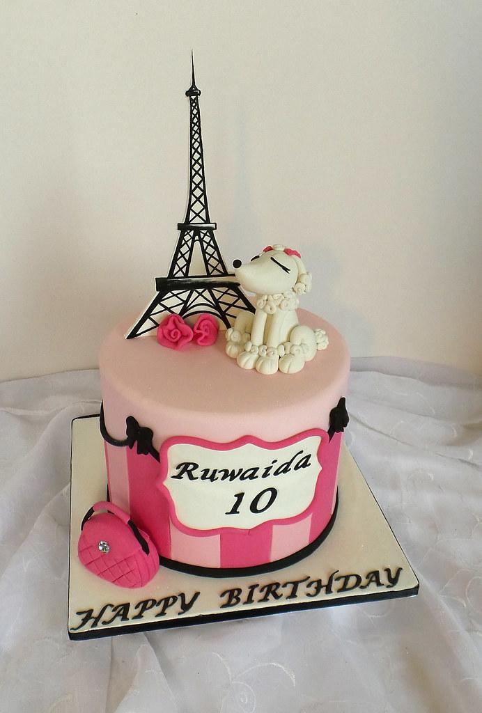 Paris Themed Birthday Cake With Fondant Poodle Handbag An Flickr