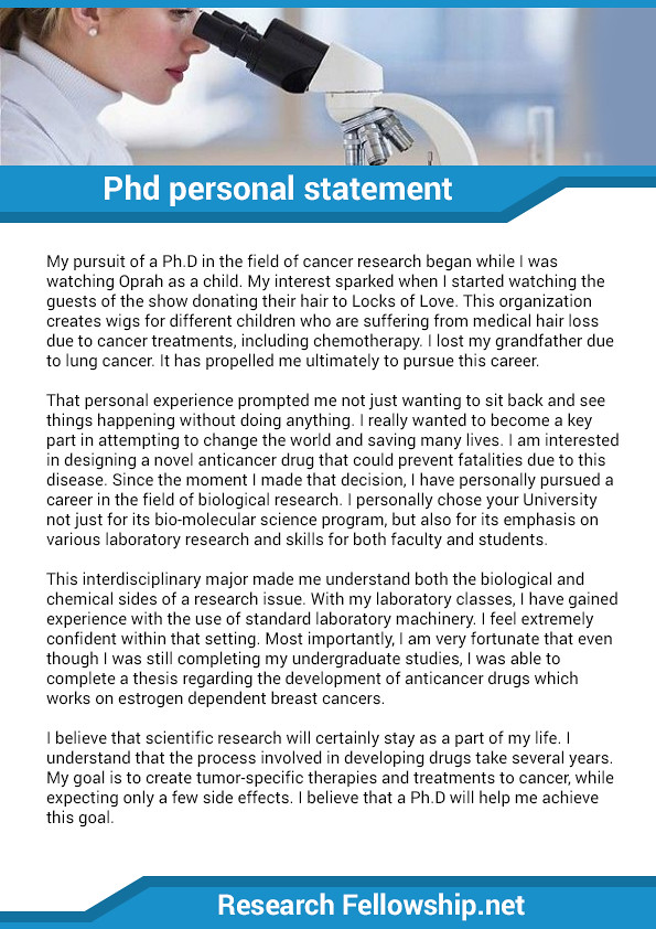 PhD personal statement sample | How to write a captivating P