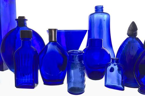 Cobalt Blue Glass Kitchen Canister Set