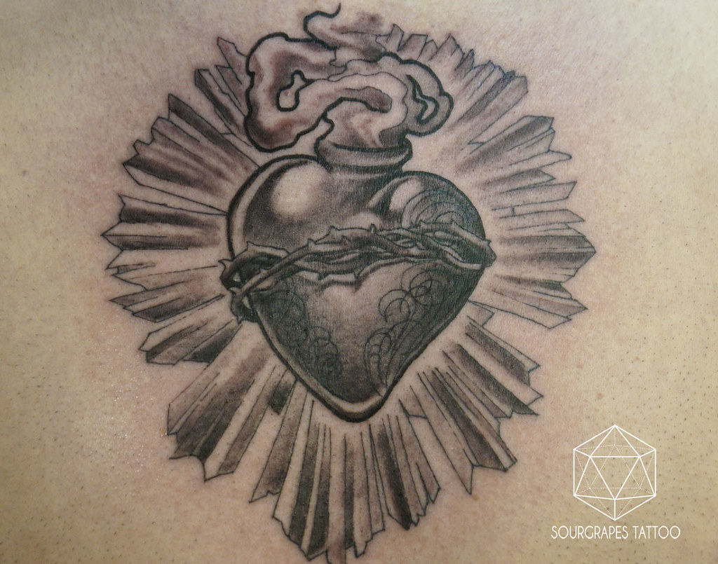 black and grey sacred heart tattoo sourgrapes tattoo 1322 flickr