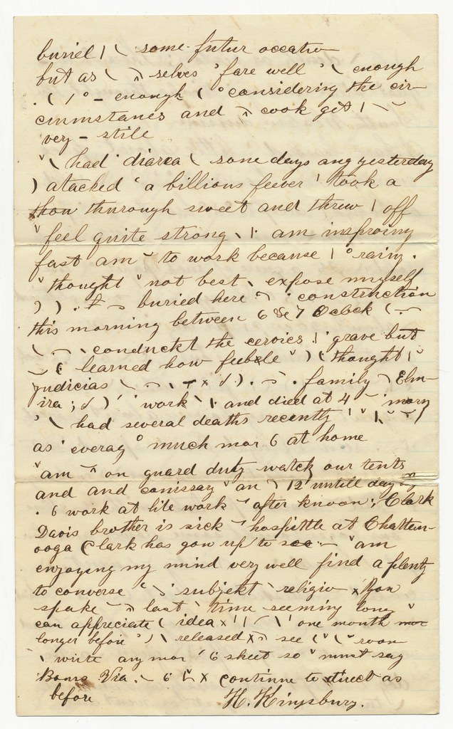 Civil War Letter With Shorthand or Secret Code Page 4
