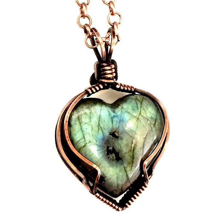 Simple little wire wrapped labradorite heart for Valentine…   Flickr