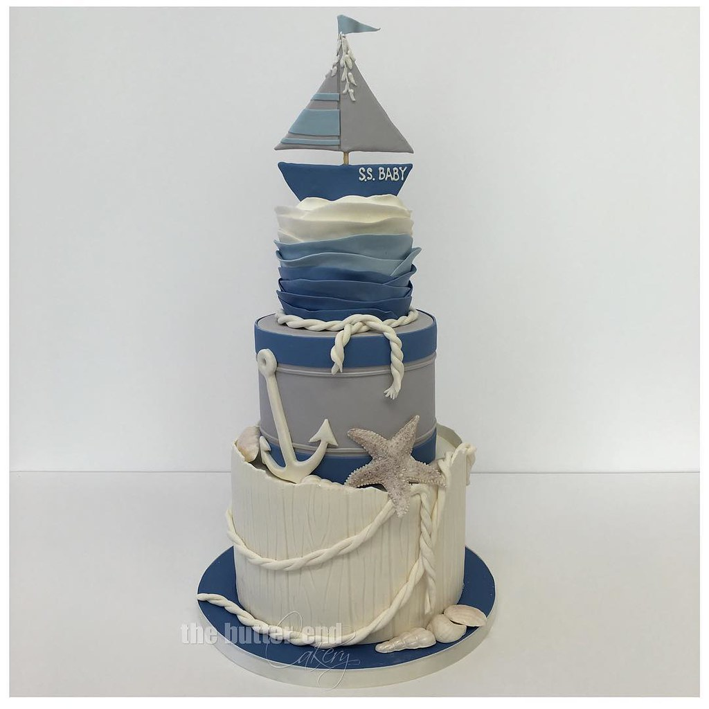Sophisticated Hues For This Nautical Baby Shower Cake Toda Flickr