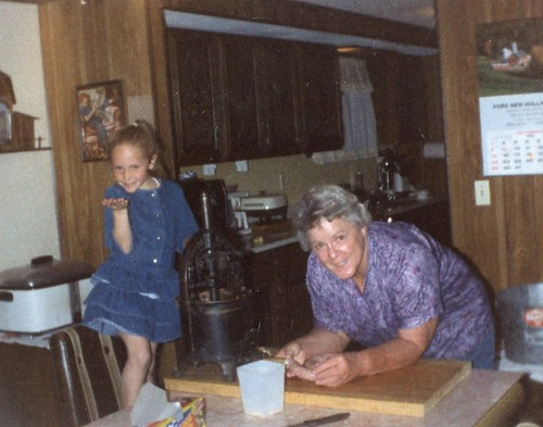 Brittny-6 yrs old with Grandma Stroh learning how to make sausage