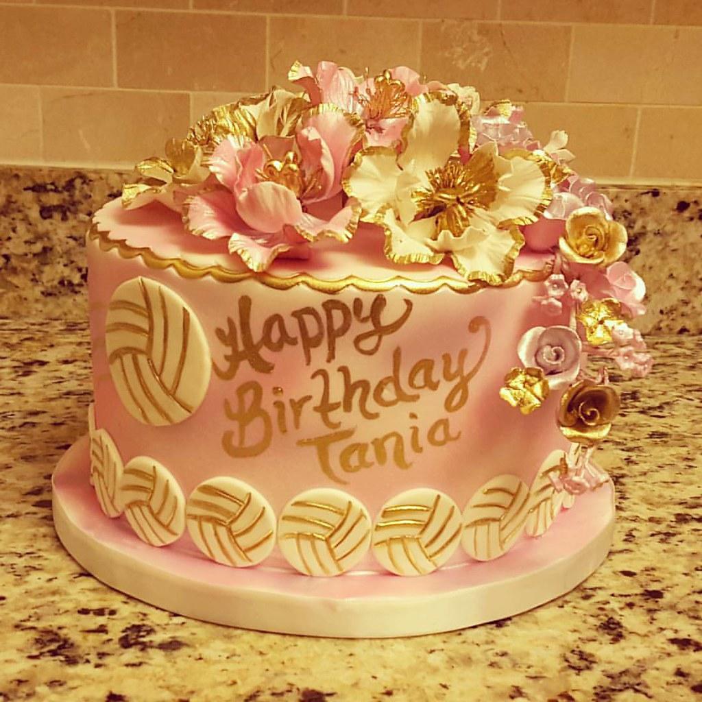 Happy Birthday Tania Floral Volleyball Theme Cake Bra Flickr