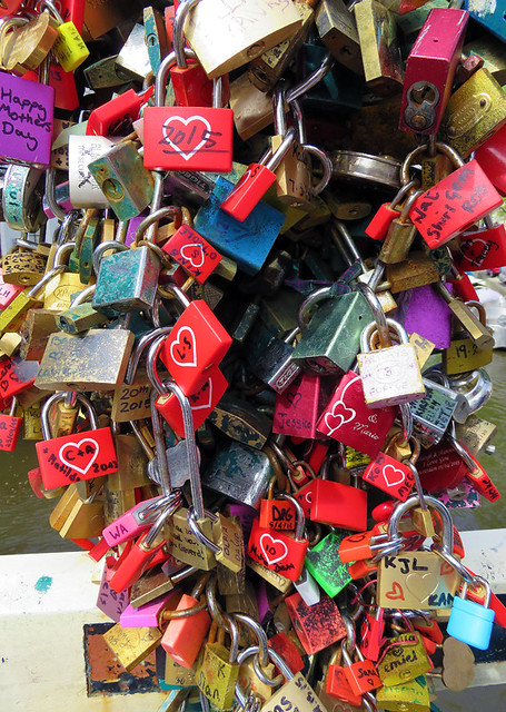 Locks on a bridge in Amsterdam, Holland