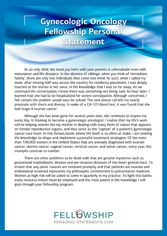 Gynecologic Oncology Fellowship Personal Statement Sample | Flickr