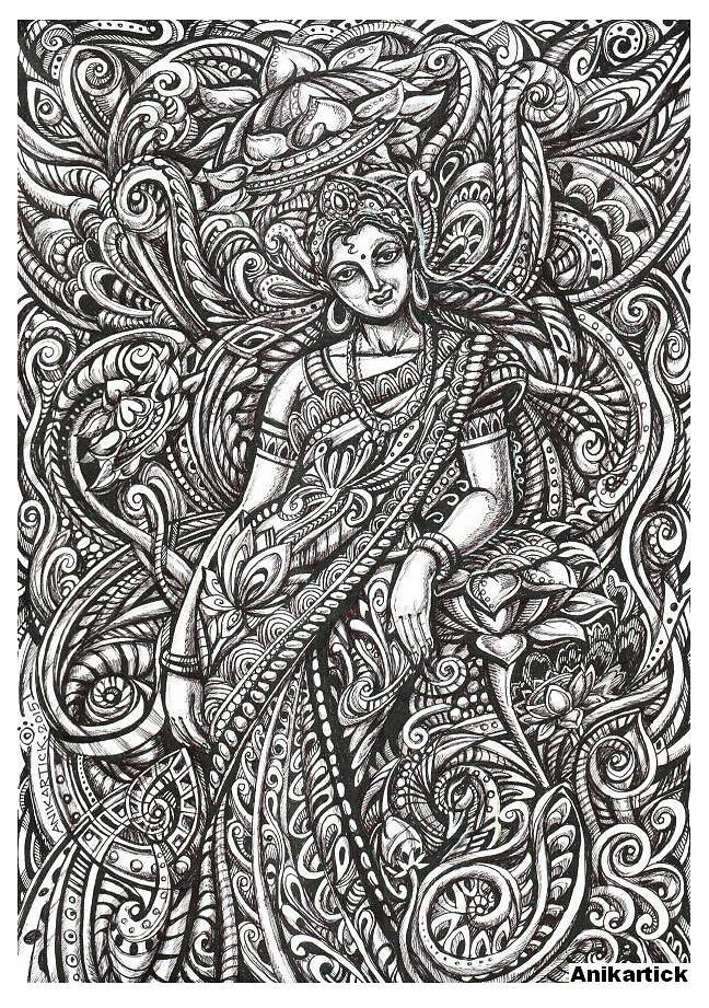 Indian art indian artist works indian gods and indian goddesses indian pen drawings