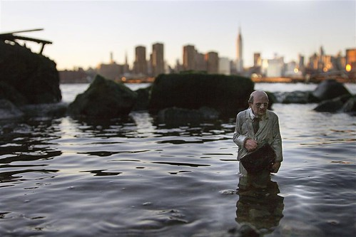 That guy arriving to Brooklyn after work last November #isaaccordal #cementeclipses #nyc #brooklynstreetart #goldmansachs  thanks to @ramirostudios ! | by Isaac Cordal