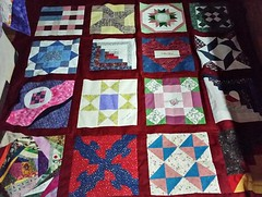 Grandma Elaine's Friendship quilt circa 2004 top is done. Blocks from the Wall Quilt Guild.
