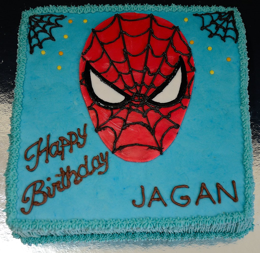 Spiderman Cake This Butter Sponge Cake I Made For A 5 Year Flickr