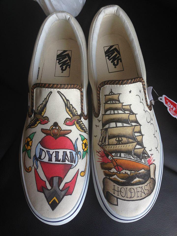 Custom shoe art by Danny P - Nautical Tattoo