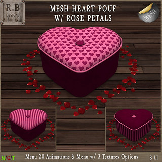 RnB Mesh Heart Pouf w Rose Petals (20 Anims) - Pink | by Bethesa