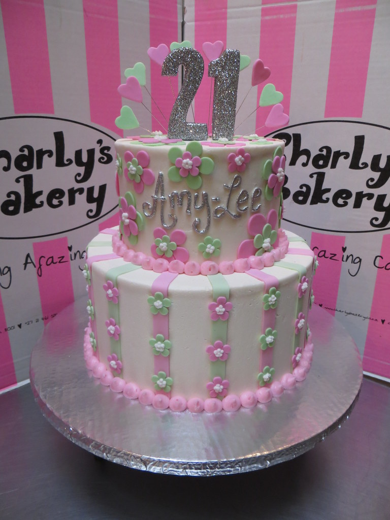 2 Tier 21st Birthday Cake With Stripes Blossoms On Botto Flickr