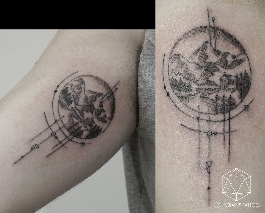 Compass Tattoo Line Drawing : Single needle mountain tattoo sourgrapes tattou flickr