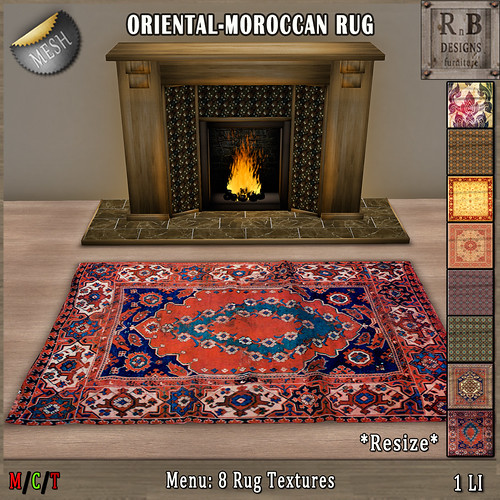 10L EXCLUSIVE NEW!!! *RnB* Mesh Rug - 8 Oriental-Moroccan Textures (copy) | by Bethesa