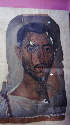 A Fayoum portrait of an ancient Egyptian man at the Egyptian Museum of Cairo | by Kodak Agfa