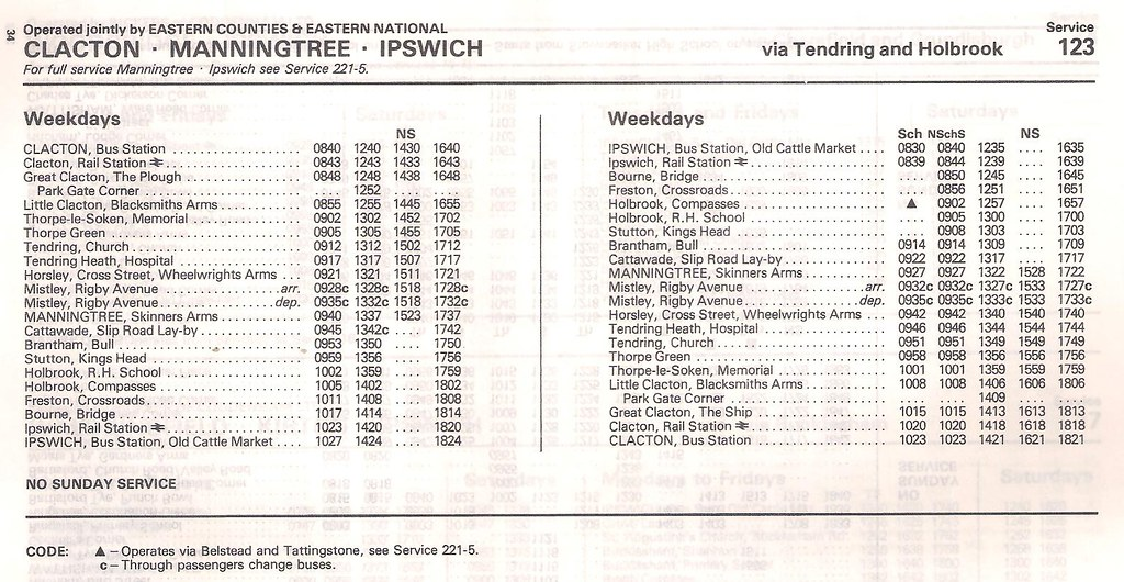 June 1983 Clacton Manningtree Ipswich Bus Timetable By Apb P Ography