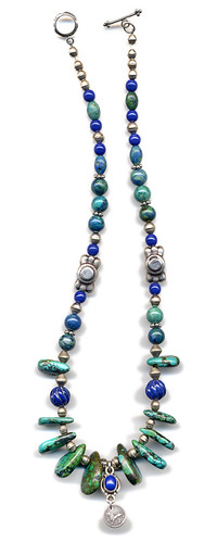 lapis, turquoise and azurite necklace featuring Guatemalan coin (a 'Real')