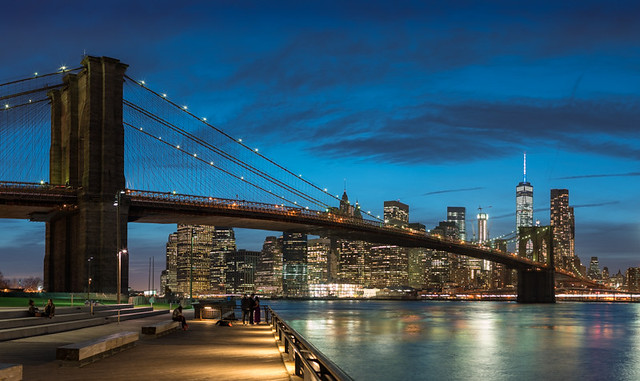 Brooklyn Bridge and the World Trade Center, Blue Hour 3-31-2016