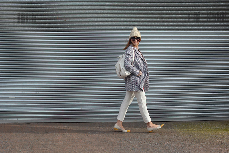 Blush pink, white and blue jaquard winter layers | Not Dressed As Lamb