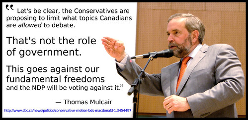 Tom Mulcair- on BDS motion | by Laurel L. Russwurm