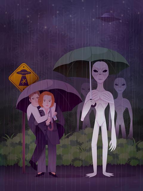 X-Files & Totoro mashup.