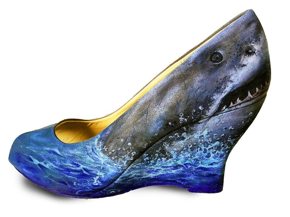 Custom shoe art by Danny P - Jaws Shark