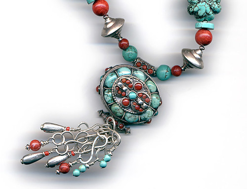 Tibetan gau box with Chinese turquoise, coral and sterling silver detail