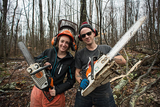 Melissa & Ian with Chainsaws | by goingslowly