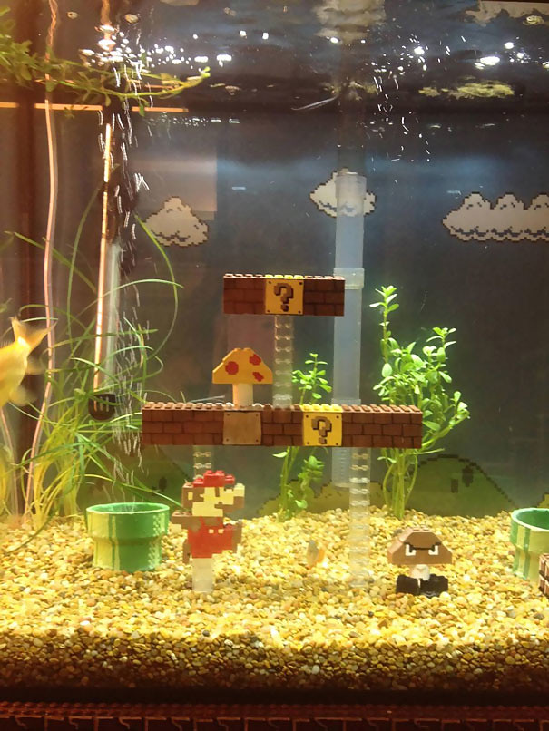 Super Mario. Bros Fish Tank Aquarium