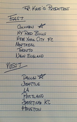 My MLS predictions for 2016. Six teams from each conference will make the playoffs. The starred team is who I think will go to the final. We'll have to wait till fall to found out how wrong I am. | by colonel4God