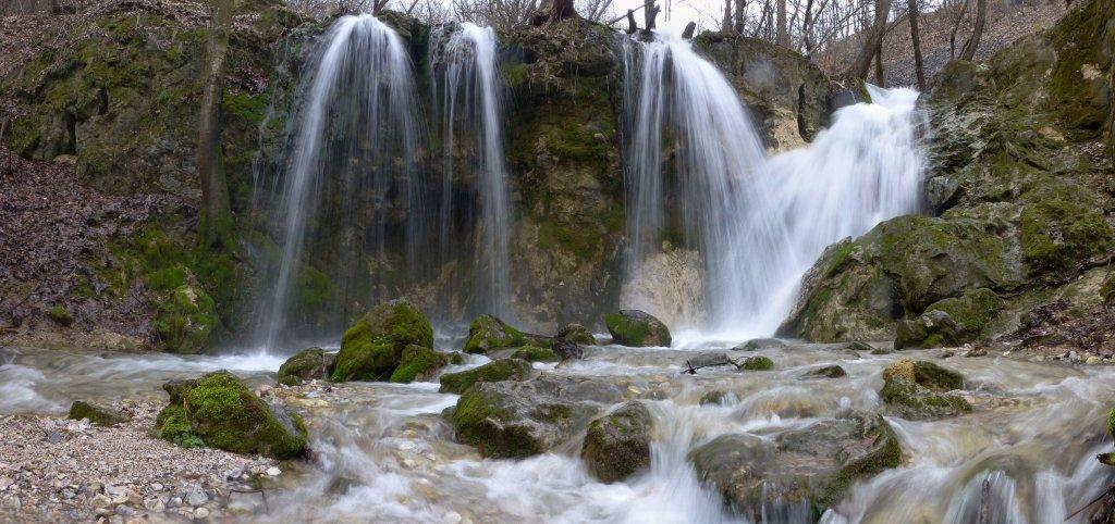 Hajske waterfalls with lot of water, Slovakia