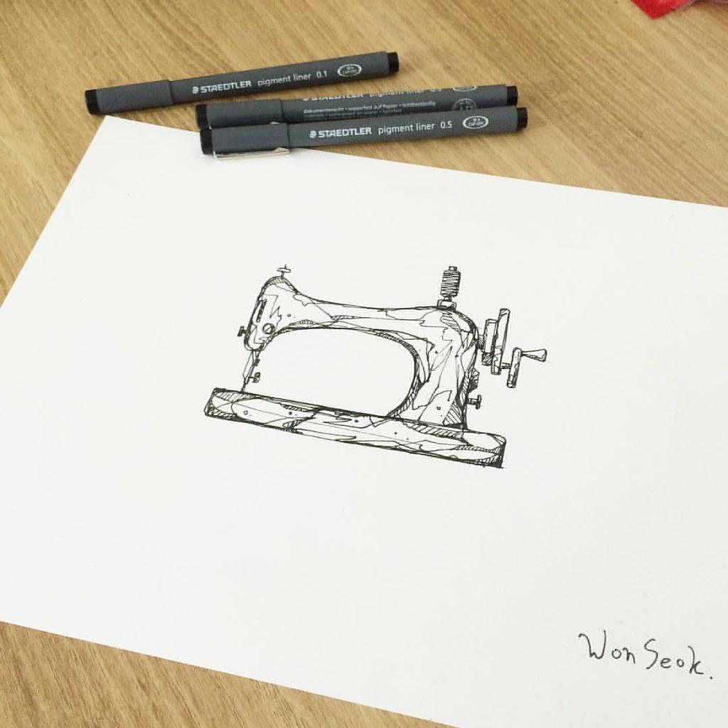Sewing Machine 재봉틀 펜일러스트 Illust Tattoo Design
