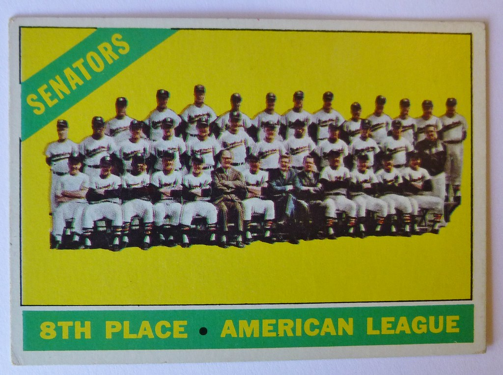 TEAM CARD WASHINGTON SENATORS 1966