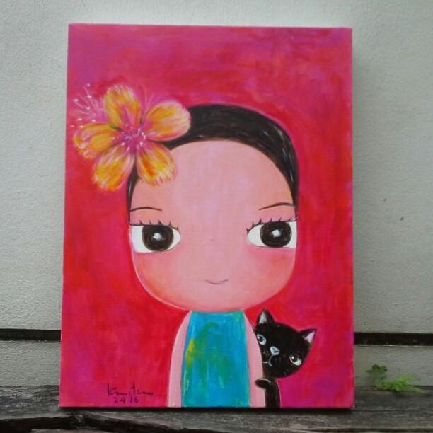 ดอกไม้ให้เธอ 30x40 cm Acrylic color on canvas #smallpainti
