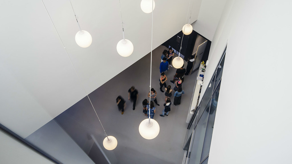 People in the foyer of The Edge, seen from above