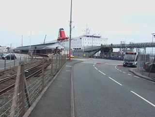 Optare Solo bus, class 158 train and Stena Line ferry 'Stena Europe' at Fishguard Harbour