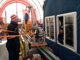 Tensioning the new cable on the winch | by U.S. Ice Drilling