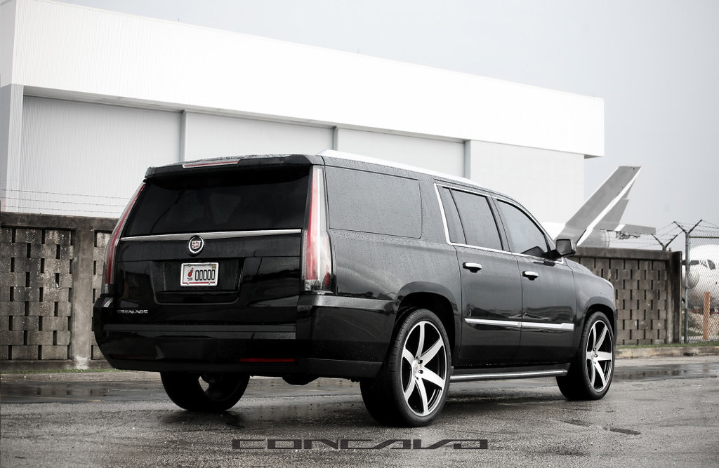 Cadillac Escalade ESV On 24 CW 6 Matte Black Machined Face
