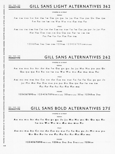 Gill Sans Alts 362, 262, 275 | by Stewf
