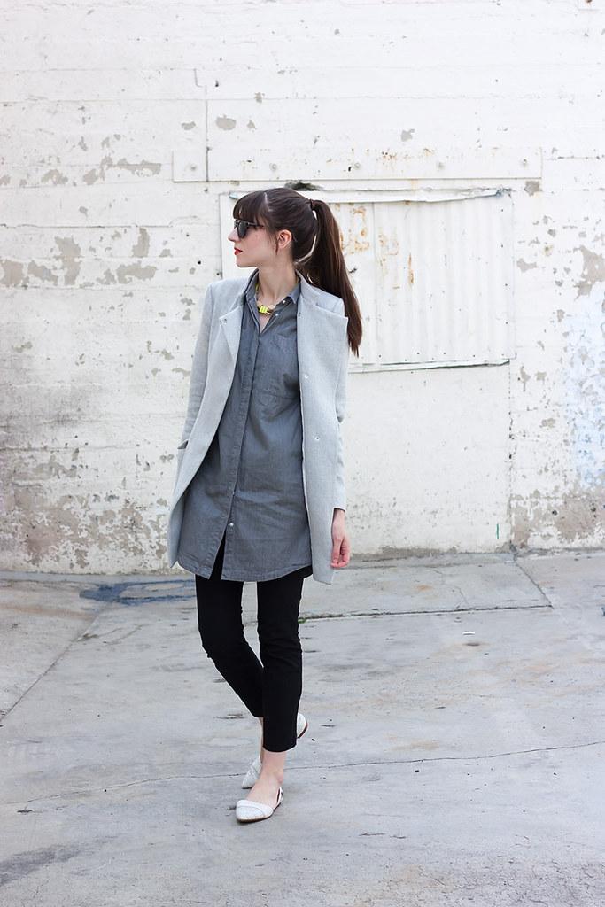 Everlane Chambray Dress, Zara Topper