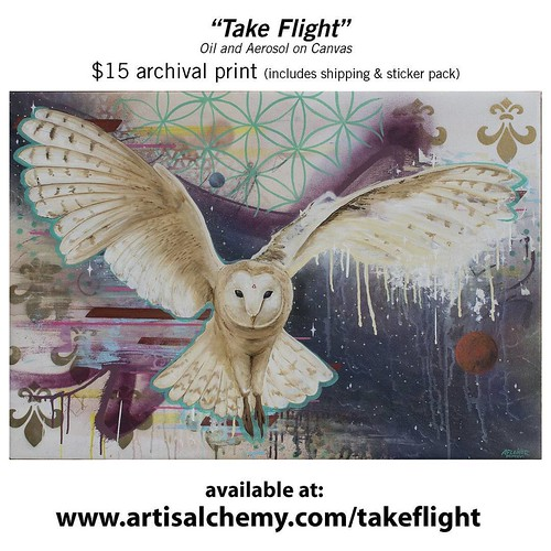"""Take Flight"" - oil and aerosol on canvas - 2016. Prints now available at (www.artisalchemy.com/takeflight). All prints are $15, they are 10""x8"" and include shipping and a sticker pack. Thank you! #takeflight #artisalchemy #giclee #printsale 