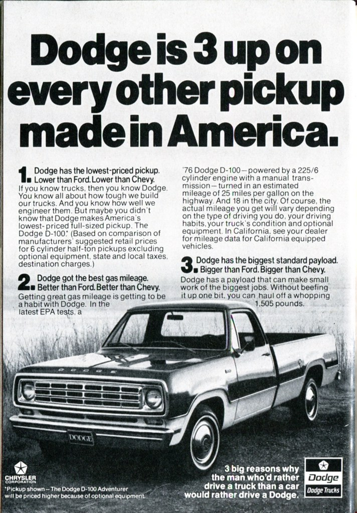 1976 dodge d 100 pickup truck advertisement readers digest flickr 1976 dodge d 100 pickup truck advertisement readers digest march 1976 by senseialan publicscrutiny Choice Image