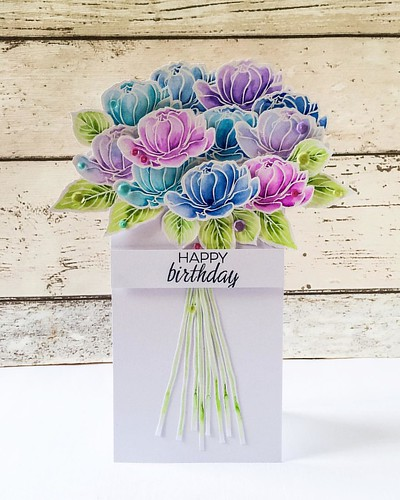 Need a bouquet that can't be squashed in the post? Check out the @sevenhillscrafts blog to see how to make one using the stunningly gorgeous @winnieandwalter #Addiesgarden blooms!! #bouquetcards | by Kezzie B